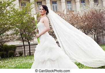 Woman bride dress veil