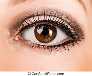 woman brown eye with long lashes