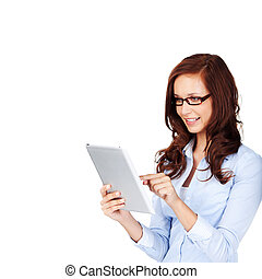Curly hair woman with glasses browsing using her ipad touch