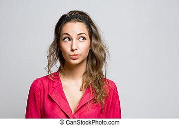 woman., brunetka, młody, wątpliwy