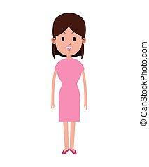 woman brunette pink dress beauty
