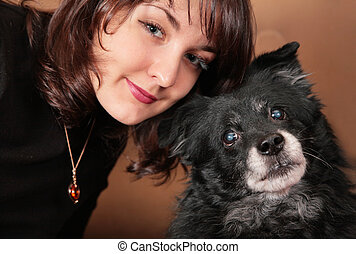 woman brunette with dog