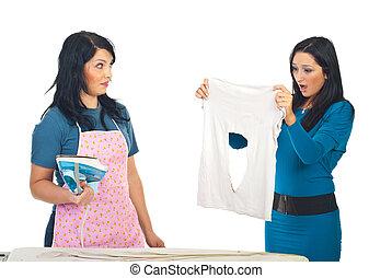Woman burned her friend shirt