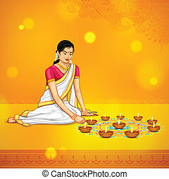 Woman burning diya for Indian festival Diwali - illustration...