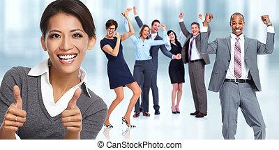 woman., business, asiatique, heureux