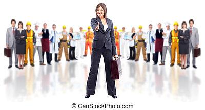 woman., business, heureux