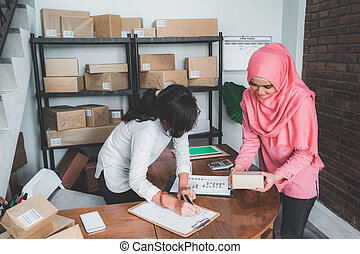woman business partner in small office