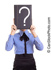 woman business problems mark question isolated