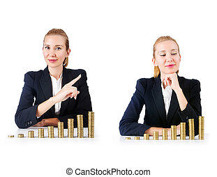 Woman businessman with coins on white