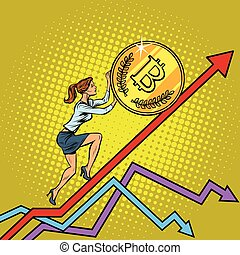 woman businesswoman roll a bitcoin coin up