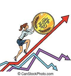 woman businesswoman roll a USA dollar coin up