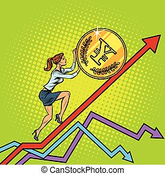 woman businesswoman roll a yen coin up