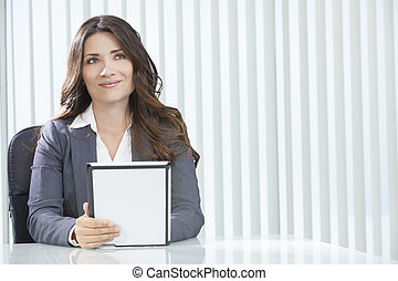 Woman Businesswoman Using Tablet Computer in Office