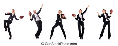 Woman businesswoman with american football