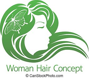 Woman Butterfly Hair Concept