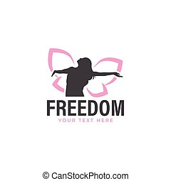 Woman butterfly logo design template isolated