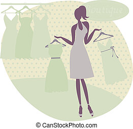 Young woman choosing between two dresses.