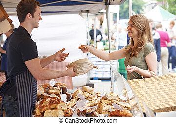 Woman Buying Bread From Market Stall