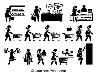Woman buying meat, fruits, and vegetables at grocery store stick figure icons.
