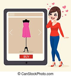 Woman Buying Online Concept
