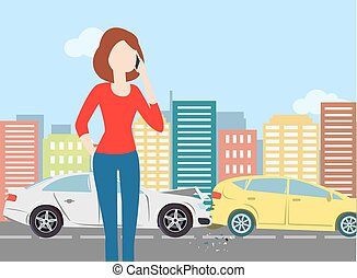 Woman calling after car crash in the city