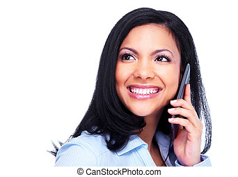 Woman calling by phone. - Young hispanic business woman ...