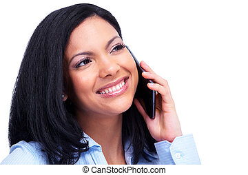 Woman calling by phone. - Young hispanic business woman...