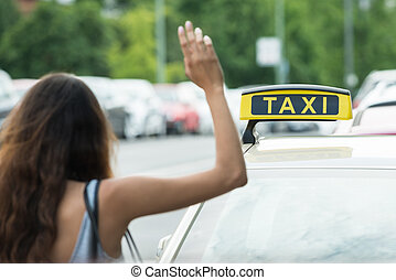 Woman Calling For Taxi
