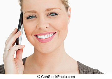 Woman calling with a smartphone