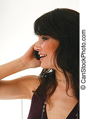 woman calling with mobile phone l