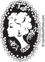 Woman camea vintage profile - Woman silhouette vintage...