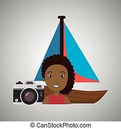 woman camera tickets travel