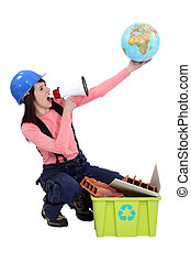 Woman campaigning for more recycling in the world
