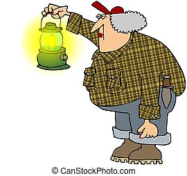 This illustration depicts an old woman dressed in plaid shirt and jeans holding up a gas lantern.