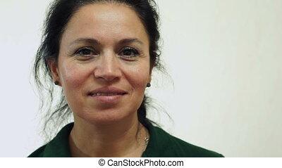 Woman Canada Passport Portrait - Closeup portrait shot of a...