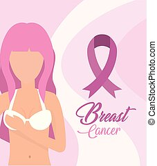 woman cancer with pink ribbon