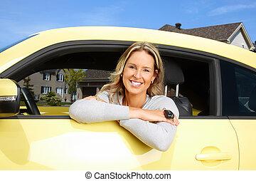 Woman car driver.