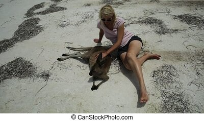 Woman caressing kangaroo at Lucky Bay