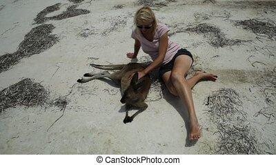 Woman caressing kangaroo at Lucky Bay - Happy caucasian...