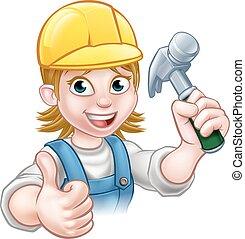 Woman Carpenter Holding Hammer