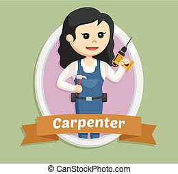 woman carpenter in emblem