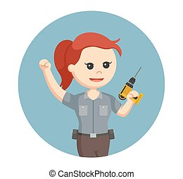 woman carpenter with electric drill in circle background