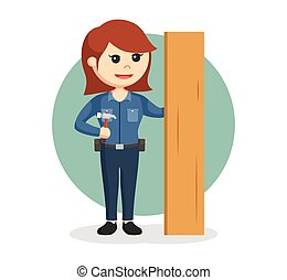 woman carpenter with hammer and wood plank