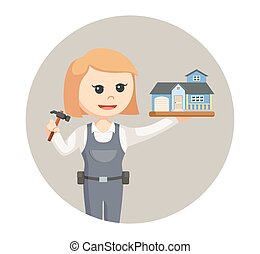woman carpenter with house miniature in circle background