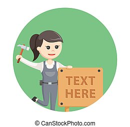 woman carpenter with wood text sign in circle background