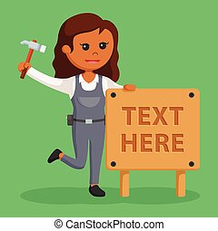 Woman carpenter with wood text sign