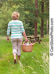 Woman carrying a picnic basket