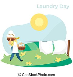 Woman carrying baskets with clean laundry to hang bed sheets outside, vector illustration