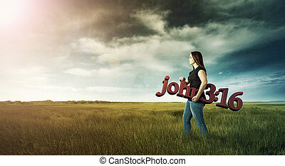 Woman carrying Bible verse. - Woman carrying a Bible verse...