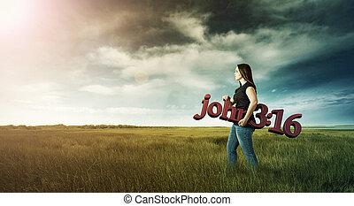 Woman carrying Bible verse.